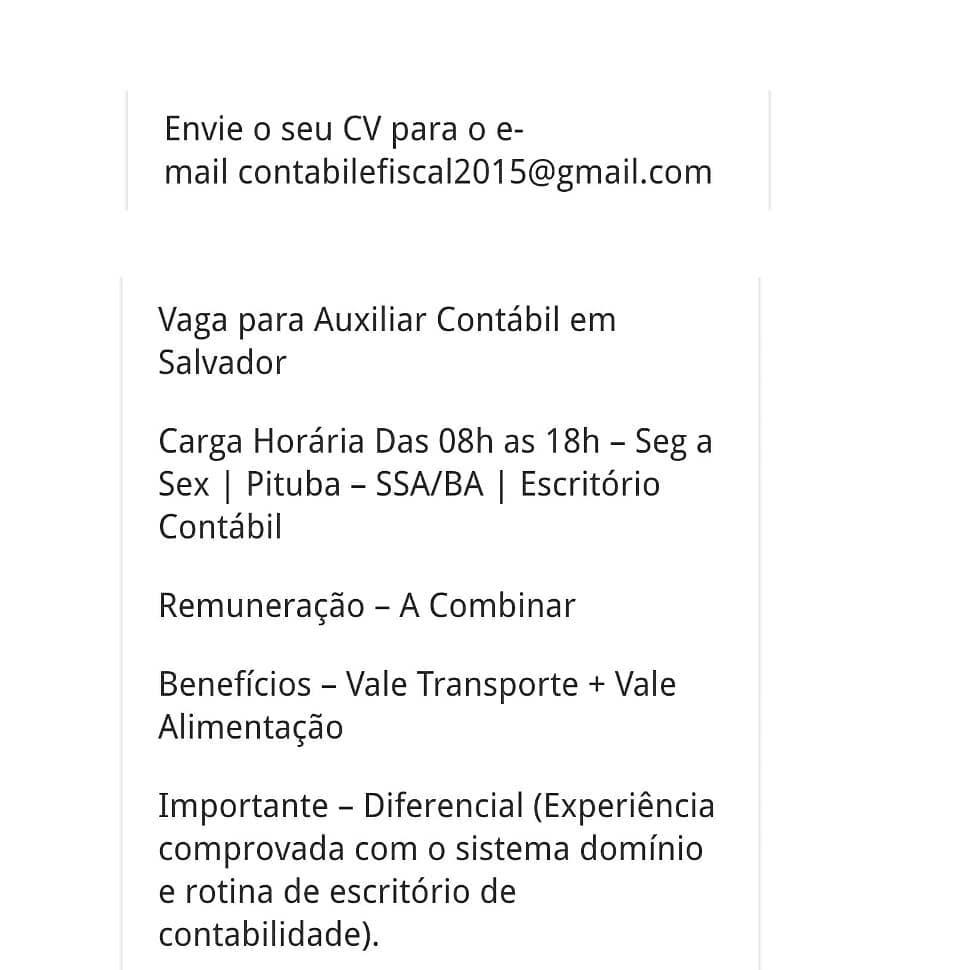 Vaga Auxiliar Contábil em Salvador