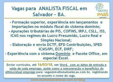 Vaga para Analista Fiscal em Salvador,BA