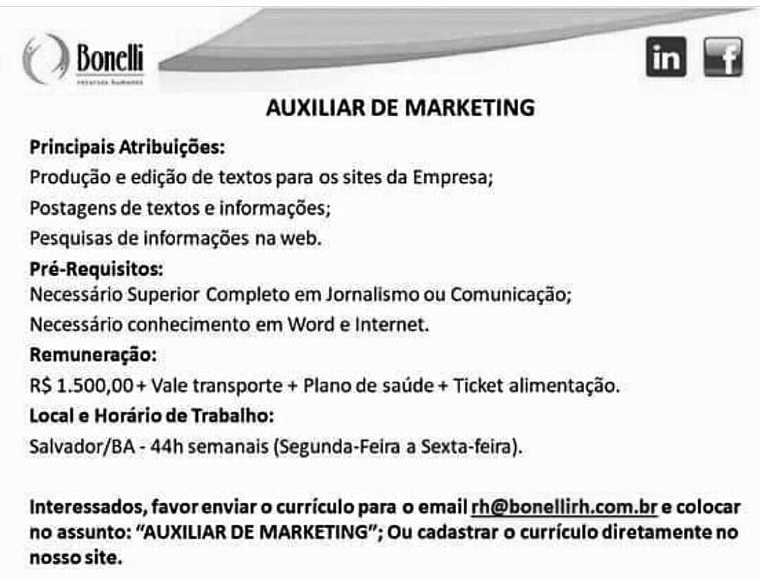 Vaga para auxiliar de marketing em Salvador-BA